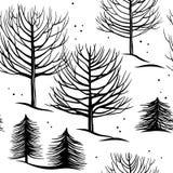 Безшовная картина, лес зимы Стоковые Фото