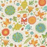 Безшовная картина лета с цветками Иллюстрация штока