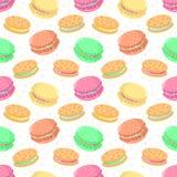 Безшовная картина еды вектора с macaroons и печеньями сандвича Стоковая Фотография