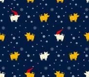 Безшовная картина желтых и белых хряков и снежинок свиней на темно-синей предпосылке иллюстрация штока
