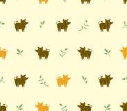 Безшовная картина желтых и коричневых хряков свиней и зеленых хворостин иллюстрация вектора