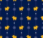 Безшовная картина желтых хряков и снежинок свиней в потоках гирлянд рождества бесплатная иллюстрация