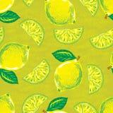 Безшовная картина желтого лимона Стоковая Фотография