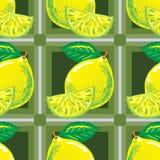 Безшовная картина желтых лимонов Стоковое Изображение RF