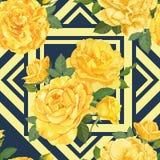 Безшовная картина желтых роз с бутоном и листьями на голубой графической геометрической предпосылке Стоковая Фотография