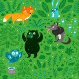 Безшовная картина животных и растений леса мультфильма r стоковое изображение rf