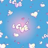 Безшовная картина заволакивает в форме влюбленности слова, розовых сердец и белой птицы на голубой предпосылке Стоковое Изображение RF