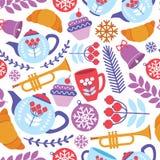 Безшовная картина завтрака и музыкального инструмента Стоковые Изображения RF