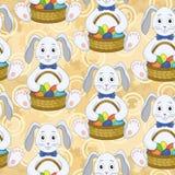 Безшовная картина, зайчики с пасхальными яйцами Стоковое Изображение