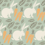Безшовная картина, зайчик, моркови Стоковое Фото
