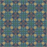 Безшовная картина заплатки от марокканца, португальских плиток желтых и зеленого цвета Декоративный фон орнамента для ткани, text иллюстрация вектора