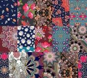 Безшовная картина заплатки с розами и тюльпанами Модная печать для ткани иллюстрация вектора
