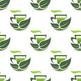 Безшовная картина зеленого органического чая Стоковое Фото