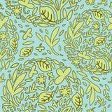 Безшовная картина зеленого цвета выходит декоративный Стоковое Изображение RF