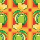 Безшовная картина зеленого яблока Стоковые Изображения