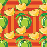Безшовная картина зеленого яблока Стоковая Фотография RF
