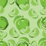Безшовная картина зеленого яблока Стоковые Фото