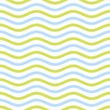 Безшовная картина зигзага голубых и желтых водообильных волн Стоковая Фотография