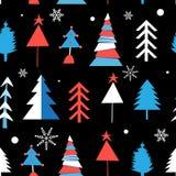 Безшовная картина зимы от различных рождественских елок иллюстрация штока