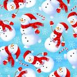 Безшовная картина зимы со смешным снеговиком Предпосылка для подарка иллюстрация штока