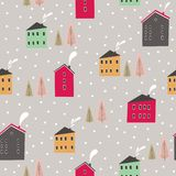 Безшовная картина зимы с деревьями и скандинавскими домами иллюстрация вектора