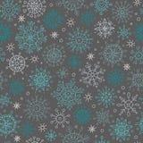 Безшовная картина зимы с снежинками Стоковое Изображение RF
