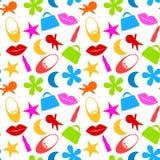 Безшовная картина значков девушки игрушки Стоковое Изображение