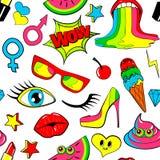 Безшовная картина значков заплаты моды губы, поцелуй, сердце, пузырь речи, звезда, мороженое, губная помада, глаз, дерьмо вектор Стоковые Изображения RF