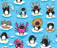 Безшовная картина зодиака пингвинов подписывает внутри стиль мультфильма также вектор иллюстрации притяжки corel бесплатная иллюстрация
