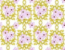 Безшовная картина золота с вишневым цветом Стоковое Фото