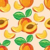 Безшовная картина зрелого персика Стоковые Изображения RF