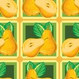 Безшовная картина зрелой желтой груши Стоковые Изображения