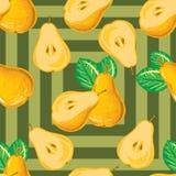 Безшовная картина зрелой желтой груши Стоковое Изображение