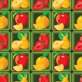 Безшовная картина зрелой клубники, яблока, апельсина, груши Стоковые Фото