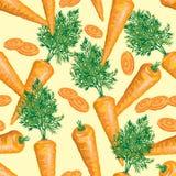 Безшовная картина зрелой моркови с листьями Стоковая Фотография