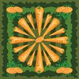 Безшовная картина зрелой моркови с листьями Стоковое Изображение