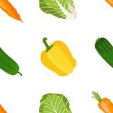 Безшовная картина зрелых овощей от сада Желтое pepp иллюстрация штока