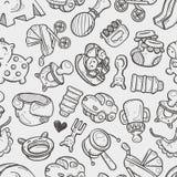 Безшовная картина игрушки младенца doodle Стоковое Изображение