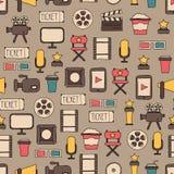 Безшовная картина дизайна кино doodle красочного Стоковая Фотография RF