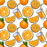 Безшовная картина, дизайн фона апельсинов и сок, иллюстрация эскиза иллюстрация штока