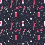 Безшовная картина инструментов для маникюра и pedicure Комплект значка Стоковые Фото