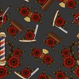 Безшовная картина инструментов для мужских стрижек Бесплатная Иллюстрация
