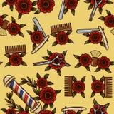 Безшовная картина инструментов для мужских стрижек Иллюстрация штока
