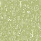 Безшовная картина листьев, флористическая предпосылка Стоковые Фото
