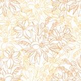 Безшовная картина, лилия цветет контуры Стоковое Фото