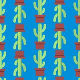 Безшовная картина кактуса Стоковые Изображения RF