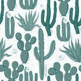 Безшовная картина кактуса иллюстрация вектора