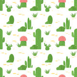 Безшовная картина кактусов и succulents Плоский кактус дизайна изолированный на белой предпосылке Стоковые Фото