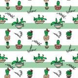 Безшовная картина кактусов потехи детей мультфильма на striped зеленой белизне иллюстрация вектора
