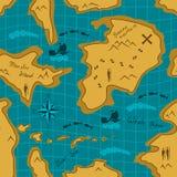 Безшовная картина карты приключения Стоковая Фотография